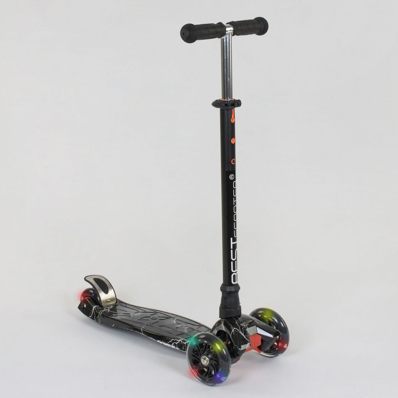 Самокат Best Scooter А 25463 /779-1318 MAXI, 4 колеса PU, свет, трубка руля алюминиевая, d=12 см