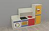 Игровая Стенка-Кухня с зоной для детских садов с зоной для сюжетных игр, с ящиками для игрушек 160х42х120 см
