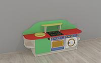 Ігрова Стінка-Кухня Попелюшка для дитсадків з зоною для приготування, полицями, ящиками для іграшок 160х43х80см