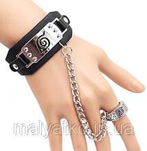 """Аксессуар Наруто: Браслет с символикой """"Скрытый Лист"""", с кольцом на цепочке - Naruto bracelet"""