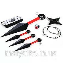 Набор аксессуаров Итачи Учиха 6в1: кунаи, налобный протектор, кольцо, цепочка, звезда-сюрикен - Naruto SET4