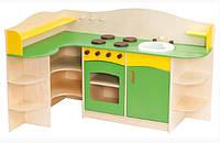 Угловая Стенка-Кухня для детских садов с зоной для приготовления, ящиками для хранения игрушек 120х90х90 см