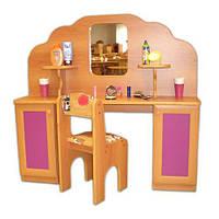 Игровая Стенка Парикмахерская для детских садов: туалетный столик с зеркалом, полками и ящиками 120х30х110 см