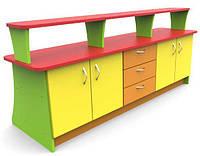 Ігрова Стінка-Стійка з полицями, шафами і ящиками для зберігання іграшок і методичних матеріалів 180х75х77 см, фото 1
