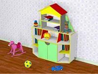 Ігрова Стінка Ракета для дитячих садків з ящиками і відкритими полицями для зберігання іграшок 120х42х150 см