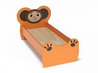 Ліжко дитяче одномісна Чебурашка з малюнком, ясельна, з безпечними боковинами, колір оранжевий 140х60 см
