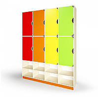 Шкаф двухъярусный для раздевалки детского сада на 8 мест для хранения одежды с нишей для обуви 120х33х197 см