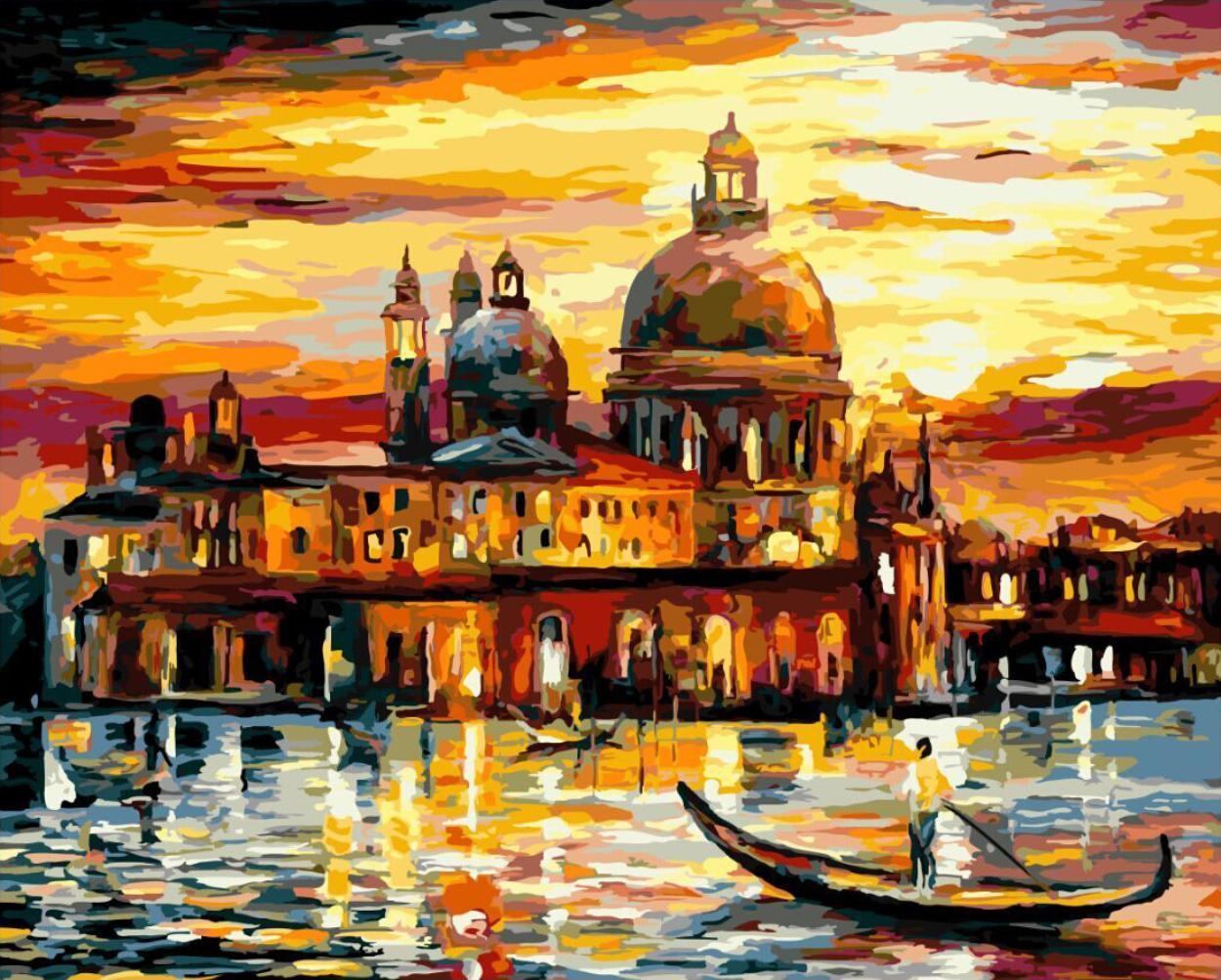 Картина за номерами Brushme Картина за номерами Brushme Золотое небо Венеции GX6753 40х50см       40x50смнабір для розпису, фарби та пензлі BK-GX6753