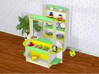Игровая Стенка Магазин с прилавком и витриной-стеллажом для сюжетных игр и хранения игрушек в детсадах H=128см