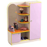 Ігрова Стінка-Передпокій: Шафа для одягу з кутовими полицями для іграшок для дитячих садків 100х32х123 см