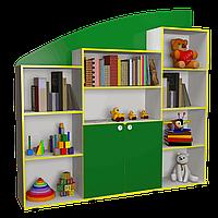 Ігрова Стінка-Гірка для дитячих садків з відкритими полицями, шафою для зберігання посібників та іграшок 180х29х177см, фото 1