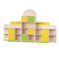 Стенка-Стеллаж для детских садов с открытыми полками и ящиками для хранения игрушек и пособий 255х30х151 см