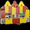 Ігрова Стінка Будиночки-2 з різнобарвними покрівлями для дитячих садків з полицями і ящиками для іграшок 260х42х190см