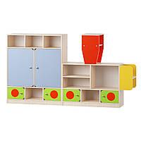 Игровая Стенка Паровозик с вагоном для детских садов с полками и закрытыми секциями для игрушек 194х34х122 см