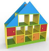 Ігрова Стінка-стелаж Будинок для дитячих садків з ящиками і відкритими полицями для іграшок та посібників 120х35х118 см, фото 1