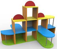 Стінка Острів для дитячих садків з зоною для ігор і творчих занять і полицями для зберігання ігор 120х120х102 см, фото 1