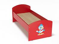 Ліжко з малюнком для дітей одномісна ясельна з безпечними боковинами, з ЛДСП, колір червоний 140х60 см