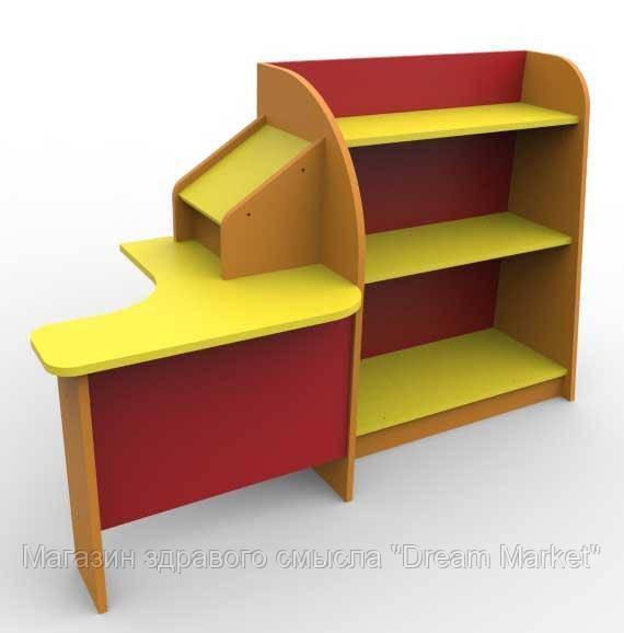 Игровая Стенка для детского сада Магазин с прилавком и угловым столом продавца для сюжетных игр 160х60х100 см