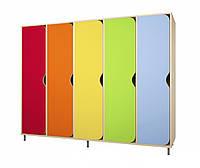 Шкаф для раздевалок детских садов одноярусный на 5 мест для хранения одежды, обуви и личных вещей 130х33х135см
