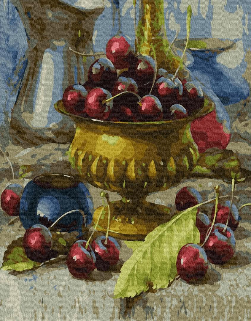 Картина рисование по номерам Brushme Чаша с черешнями GX34251 40х50см       40x50см  BK-GX34251 40x50см набор