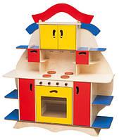 Стенка-Кухня Елена для дома и детского сада с плитой, полками, ящиками для игр и хранения игрушек 143х40х124см