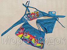 Купальник для девочек Z.FIVE 9106 Лютик голубой (В НАЛИЧИИ ТОЛЬКО  28 30 32 34 36 размеры)