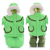Детский костюм-тройка (конверт+курточка+полукомбинезон) фисташковый, фото 1
