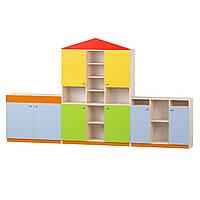 Стенка Домик для детских садов с ящиками и открытыми полками для игр и дидактических материалов 320х35х180 см