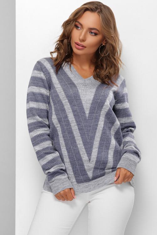 Вязаный женский двухцветный джемпер темно-серый-светлый джинс 44-50