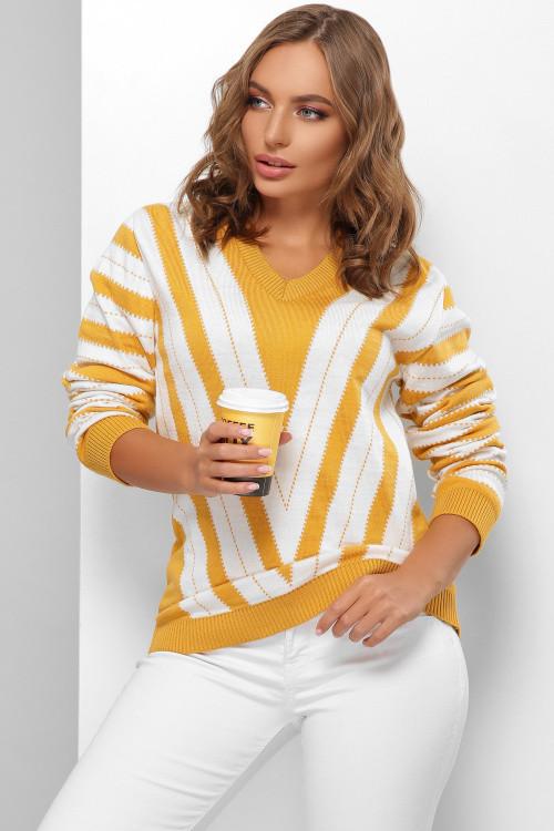 Вязаный женский двухцветный джемпер горчица-молоко 44-50