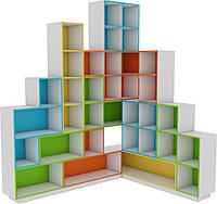 Угловая Стенка-Стеллаж Тетрис для детских садов с открытыми полками для хранения книг и пособий 200х166х246 см