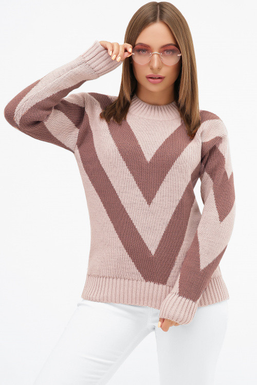 Вязаный женский двухцветный свитер пудра 42-46