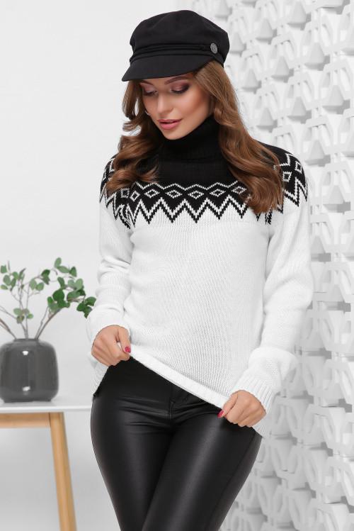 Двухцветный женский свитер под горло с отворотом черный-молоко 44-48