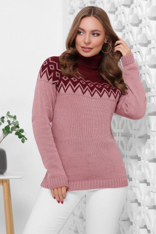 Двухцветный женский свитер под горло с отворотом марсала-роза 44-48