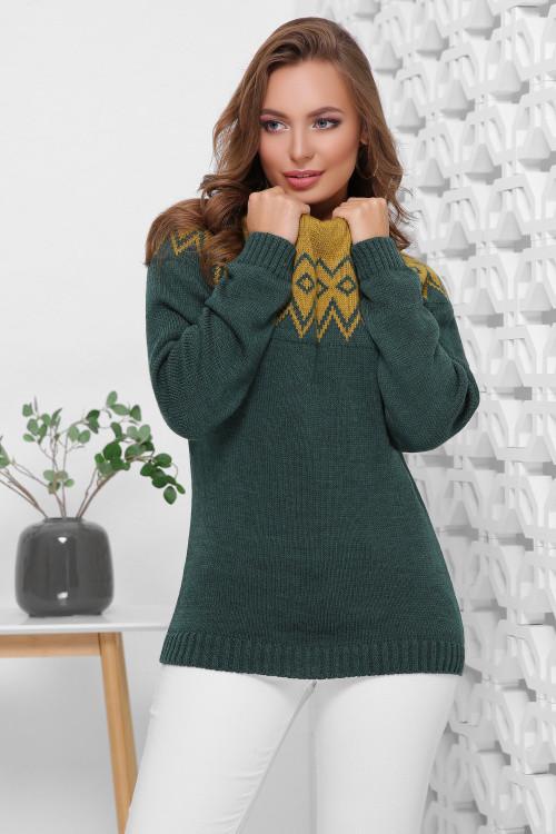 Двухцветный женский свитер под горло с отворотом фисташка-изумрудный 44-48