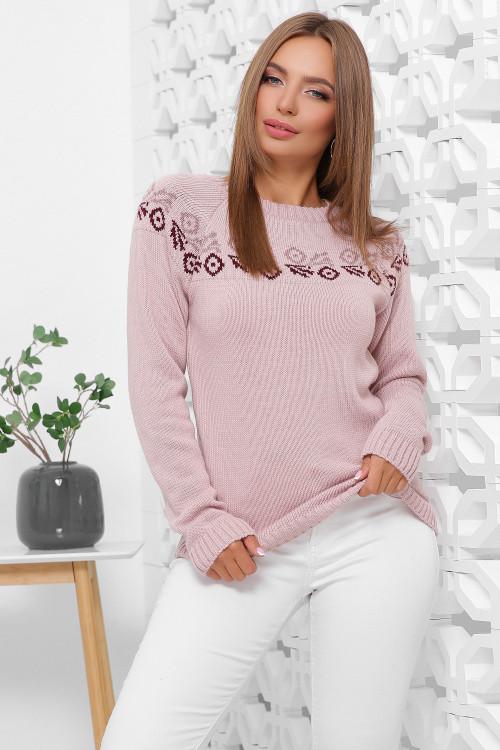 Вязаный женский свитер с красивым орнаментом пудра 44-48