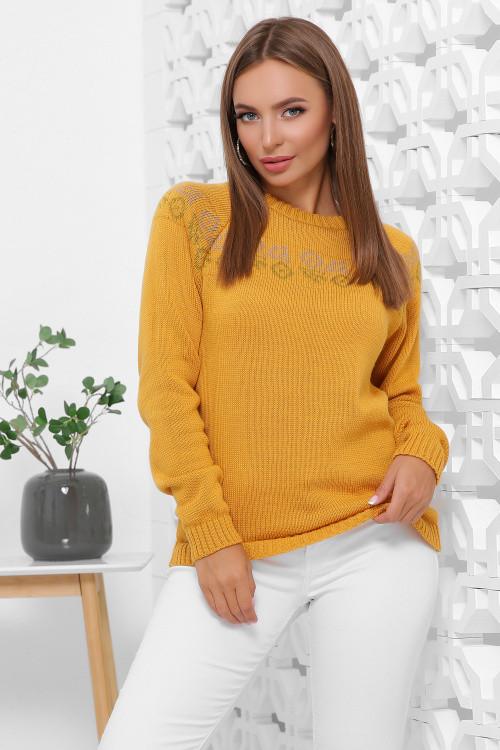 Вязаный женский свитер с красивым орнаментом горчичный 44-48