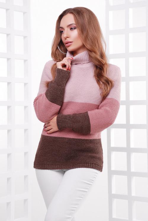 Удобный трехцветный женский свитер прямого силуэта пудра-роза-коричневый 44-52