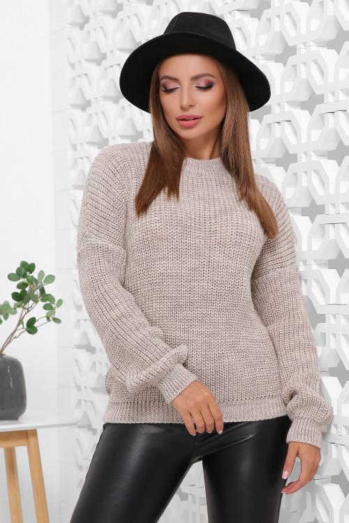 Удобный однотонный женский свитер в стиле oversize капучино 42-46