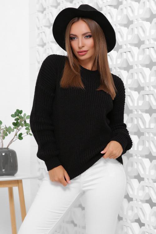 Удобный однотонный женский свитер в стиле oversize черный 42-46