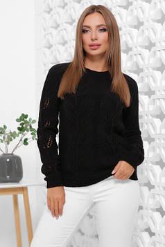 Удобный однотонный свитер прямого силуэта черный 44-48