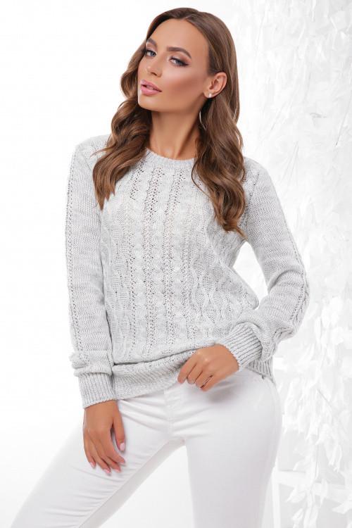 Стильный женский свитер светло-серый 44-50