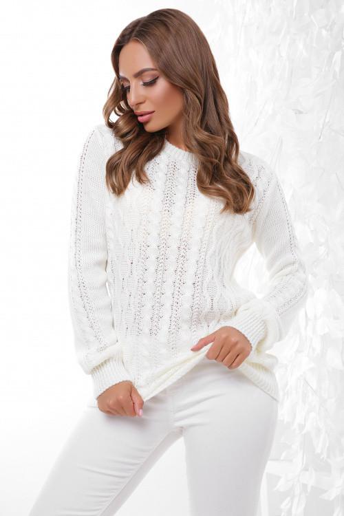 Стильный женский свитер молоко 44-50