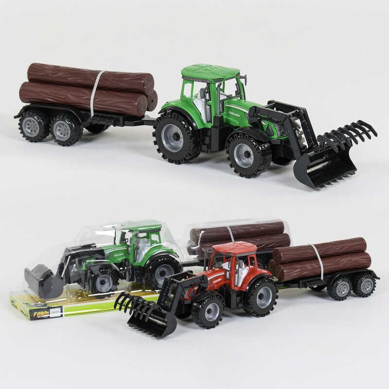 Трактор с прицепом 0488-406 (36/2) инерция, 2 вида, в слюде