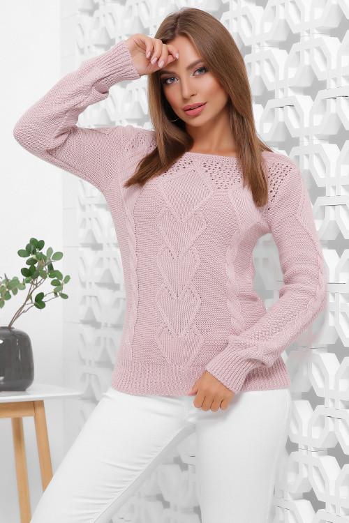 Однотонный вязаный женский свитер пудра 44-50