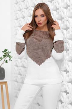 Мягкий, удобный и стильный двухцветный свитер кофе-молоко 46-52