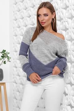 Мягкий, удобный и стильный двухцветный свитер темно-серый-светлый джинс 46-52