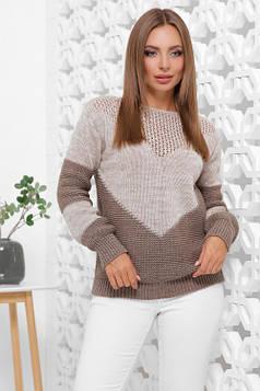 Мягкий, удобный и стильный двухцветный свитер капучино-кофе 46-52