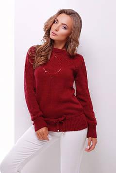 Однотонный женский вязаный свитер бордовый 44-50