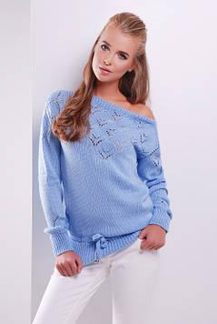 Однотонный женский вязаный свитер голубой 44-50